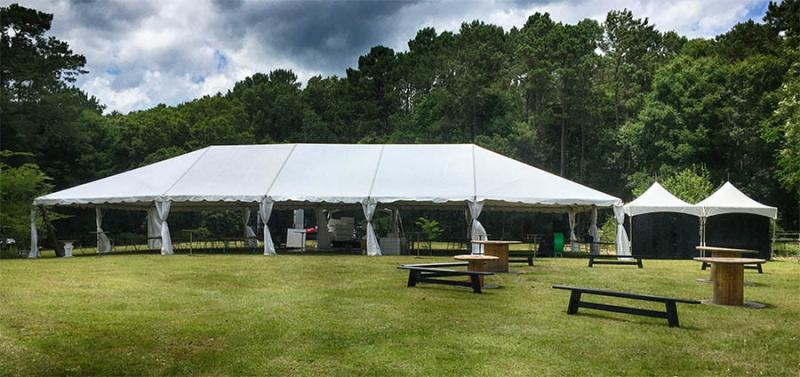 40x85 Tent with 10x20 Cook Tent Stage Presence Event Rentals Charleston, SC