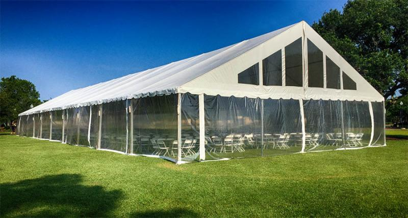 50x100 Gable Tent with Clear Sides Stage Presence Event Rentals Charleston, SC